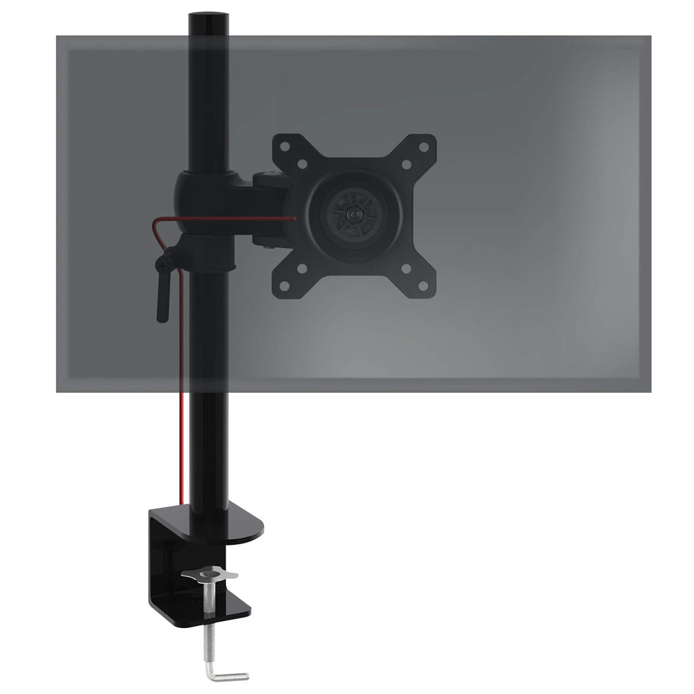 Duronic DM351X1 Single Monitor Arm Stand | PC Desk Mount | Steel | Height Adjustable | For One 13-27 Inch LED LCD Screen | VESA 75/100 | 8kg Per Screen | Tilt -15°/+15°, Swivel 180°, Rotate 360°