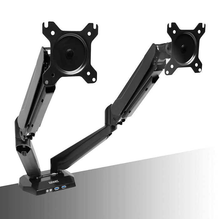 "Duronic Monitor Arm Stand DMUSB52 | Dual PC Desk Mount | Headphone | USB | Microphone | For Two 13""-27"" LED LCD Screens 