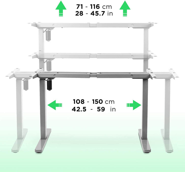Duronic Sit Stand Desk Frame TM12GY | Electric Standing Office Table | Height Adjustable 71-116cm | Ergonomic Workstation | GREY | Memory Function | Single Motor / 2 Stage