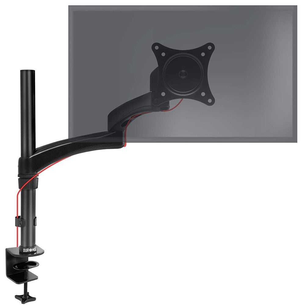 Duronic Monitor Arm Stand DM451X3 | Single PC Desk Mount | Solid Steel | Height Adjustable | For One 13-27 LED LCD Screen | VESA 75/100 | 13kg Per Screen | Tilt -90°/+45°, Rotate 360°