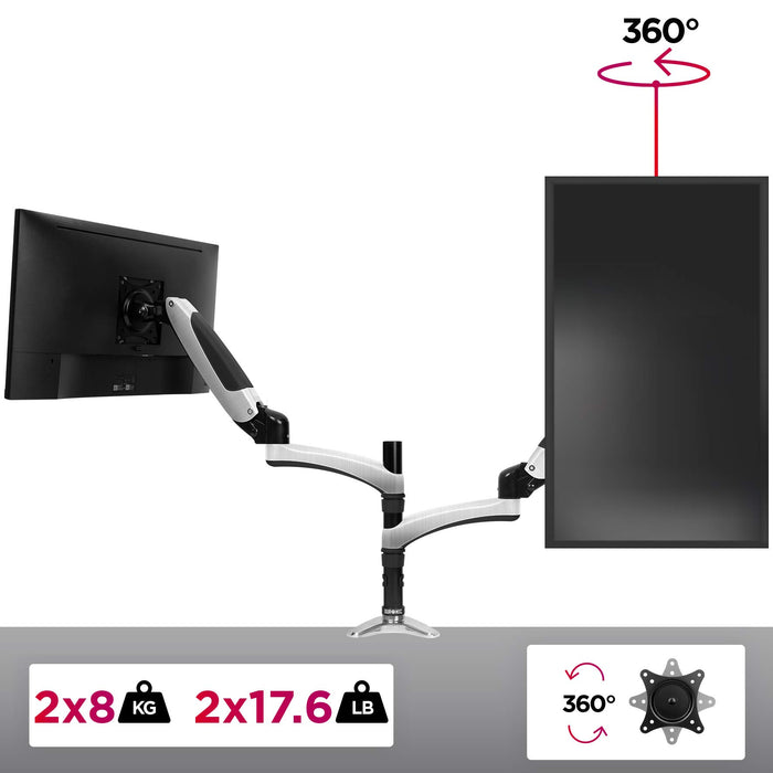Duronic DM652 Gas Powered Double LCD LED Gas Desk Mount Arm Monitor Stand Bracket with Tilt and Swivel (Tilt -90°/+85°|Swivel 180°|Rotate 360°) + 2 Years Warranty