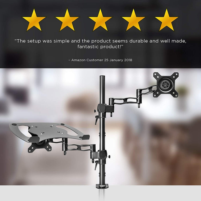 "Duronic Desk Mount DM35L1X1 | Single Monitor Stand for 13""-27"" LCD/LED PC/TV Screen and Laptop 