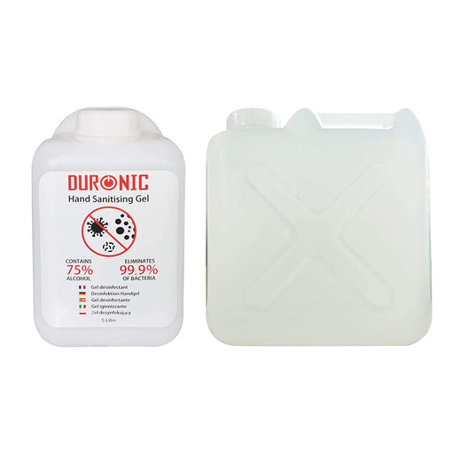 Duronic Hand Sanitiser Gel S5000ML [10 PACK] | 10x 5000ml Bottle – Large 5 Litre Refill Size | 75% Alcohol | Kills 99.9% Bacteria | Anti-Bacterial | Fast Drying | Fragrance-Free Formula