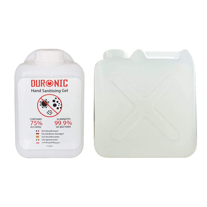 Duronic Hand Sanitiser Gel S5000ML [2 PACK] | 2x 5000ml Bottle – Large 5 Litre Refill Size | 75% Alcohol | Kills 99.9% Bacteria | Anti-Bacterial | Fast Drying | Fragrance-Free Formula