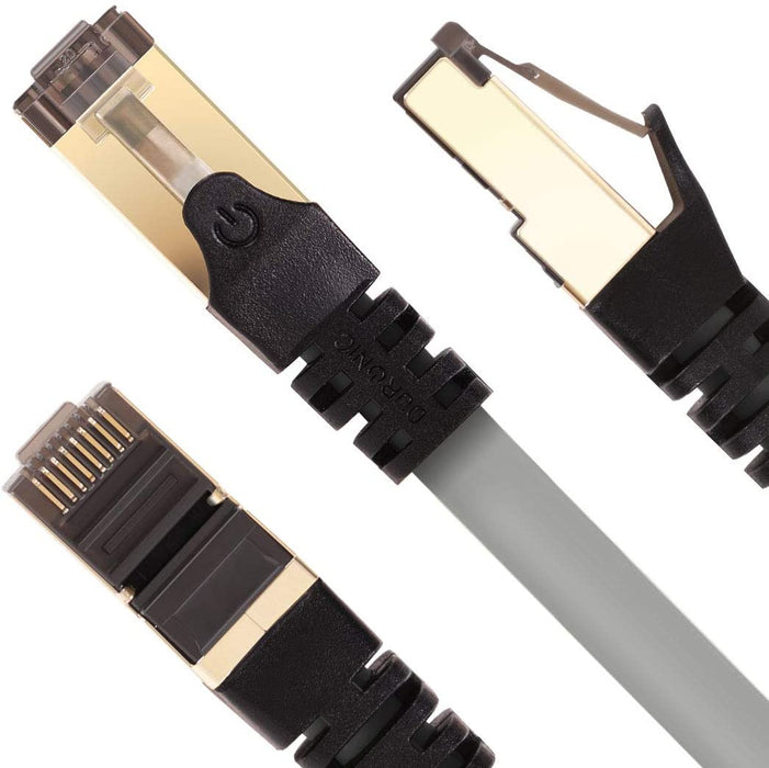 Duronic GREY 1.5M CAT8 Cable | S/FTP Shielded Ethernet Wire | Super-Fast Network Patch Lead | Supports Bandwidth up to 2GHz/2000MHz | Snagless Gold RJ45 Connections | Data transmission 40 Gigabit