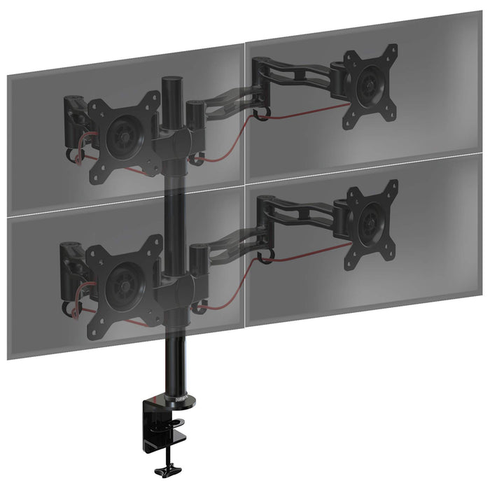 Duronic Monitor Arm Stand DM354 | Quad PC Desk Mount | Aluminium | Height Adjustable | For Four 13-27 LED LCD Screens | VESA 75/100 | 8kg Per Screen | Tilt +15°/-15°,Swivel 180°,Rotate 360°