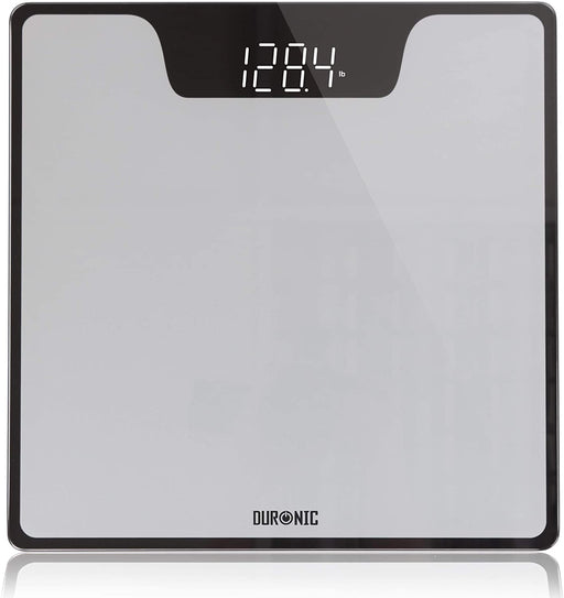 Duronic Body Scales BS303 | Measures Body Weight in Kilograms and Pounds | Silver/Black Design | Step-On Activation Bathroom Scales | Precision Sensors | 180kg Capacity