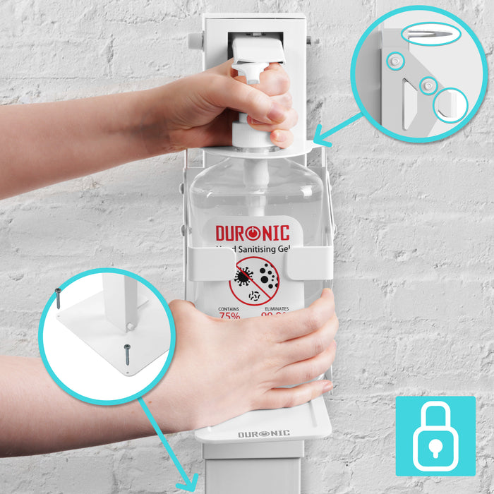 Duronic Hand Sanitiser Gel Floor Standing Dispenser STF-S1L | Freestanding Design with Drip Tray | Holds Duronic S1000ML 1 Litre Pump Bottle | Secure Locking Feature to Prevent Theft | Easy Assembly