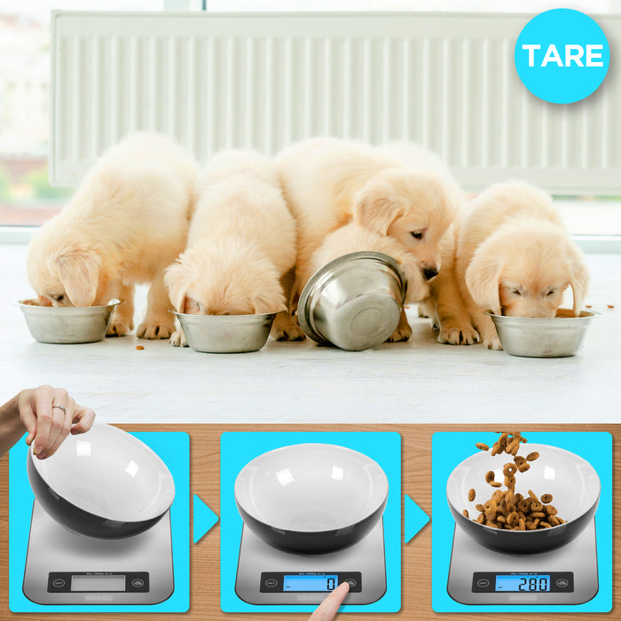 Duronic Digital 10KG Kitchen Scales KS1007 | Silver Design with Glass Platform | 10kg Capacity | Clear LCD Display | Add & Weigh Tare | 1g Precision | Measure Ingredients for Cooking & Baking