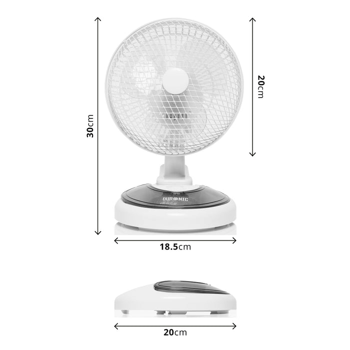 "Duronic FN15 Mini 2 in 1 Clip On | Desk Fan - 6"" Fan With Compartment in White"