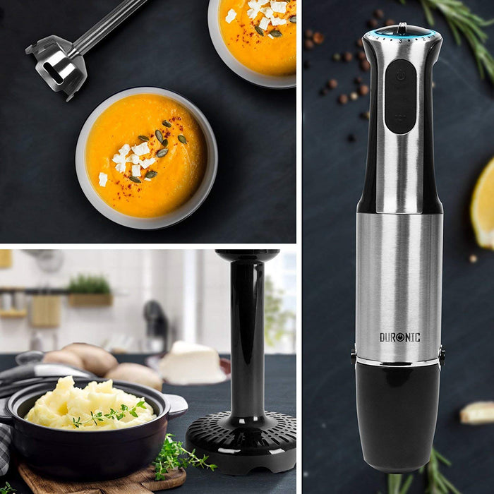 Duronic Hand Blender HB8010 | Immersion Stick Blender | 5 Speed | Turbo Function | 800W | Stainless-Steel | Cooking Wand with Four Attachments: Whisk, Chop, Mash & Blend | 2 Jugs | Plus Storage Stand…