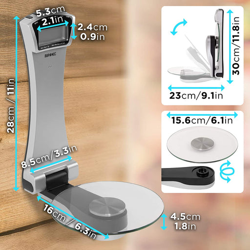 Duronic Kitchen Scale KS4000 3KG Wall Mounted Digital Display Electronic Kitchen Scales With a Clear Glass Platform Capacity: 3kg/6.6lb