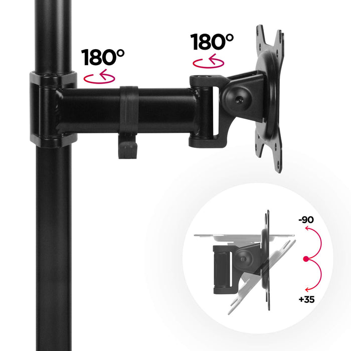 Duronic DM251X2 Single Monitor Arm Stand | PC Desk Mount | Steel | Height Adjustable | For One 13-27 Inch LED LCD Screens | VESA 75/100 | 8kg Per Screen | Tilt -90°/+35°, Swivel 180°, Rotate 360°