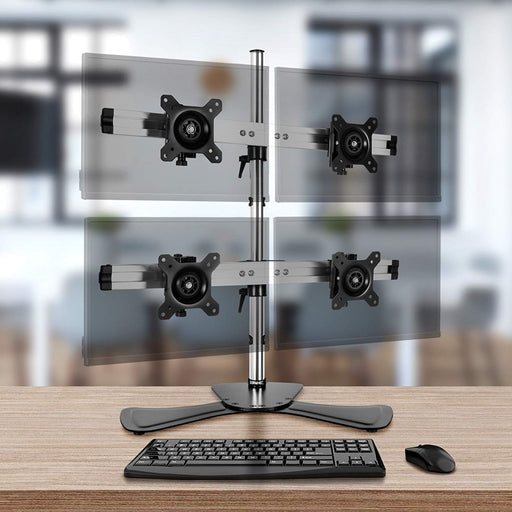 Duronic DM754 Quad/Four LCD LED Desk Top Mount Arm Monitor Stand Bracket with Tilt and Swivel (Tilt ±15°|Rotate 360°) + 10 Year Warranty
