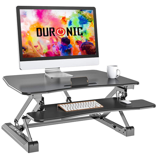 Duronic Sit-Stand Desk DM05D8 | Electric Height Adjustable Office Workstation | 90x59cm Platform | Raises from 16-49cm | Riser for PC Computer Screen, Keyboard, Laptop | Ergonomic Desktop Converter