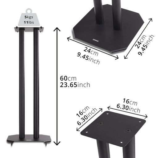 Duronic Speaker Stand (pair) SPS1022-60 | MEDIUM 60cm | Set of 2 Steel Base Supports for Stereo Loudspeakers | Floor Standing with Spikes, Shoes and Pads | Insulating | Black | For Better Audio