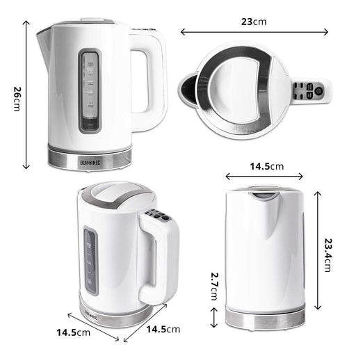 Duronic Electric Kettle EK30 WE | White 1.5L Fast Boil Kettle | Eco 3000W Variable Temperature Control | Keep Warm Function | Energy Efficient | Insulated Cool Touch | Cordless 360 Base | Multi-Use