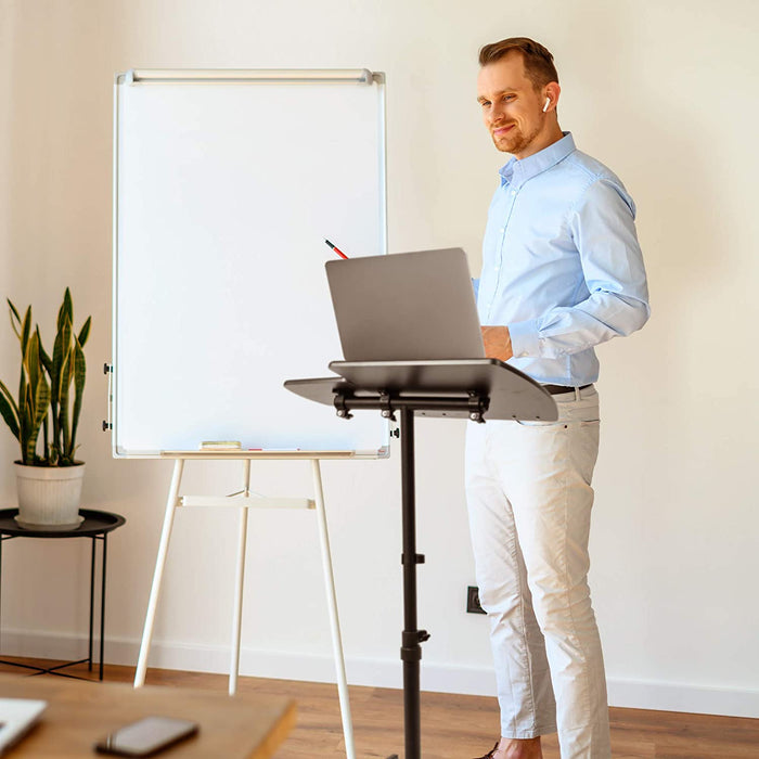 Duronic Projector Stand/Sit-Stand Desk WPS17 | Portable Ergonomic Desk for Laptop with Mouse Board | Multi-Use Video Projector Floor Table on Wheels | Adjustable Height and 2-Way Tilt | 10kg Capacity
