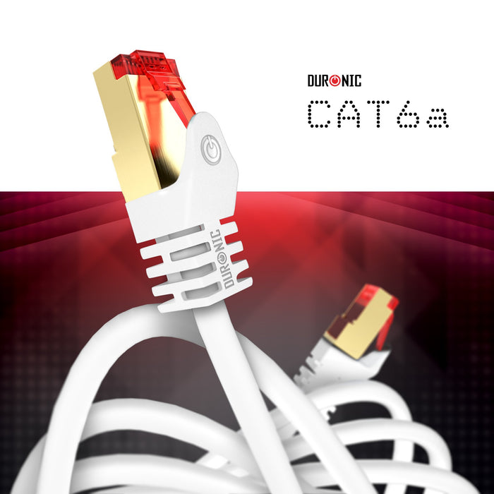 Duronic White 0.5m CAT6a FTP Professional Gold Headed Shielded Network Cable - High Speed 500MHz Premium Quality Cat6a / Patch / Ethernet / Modem / Router / LAN