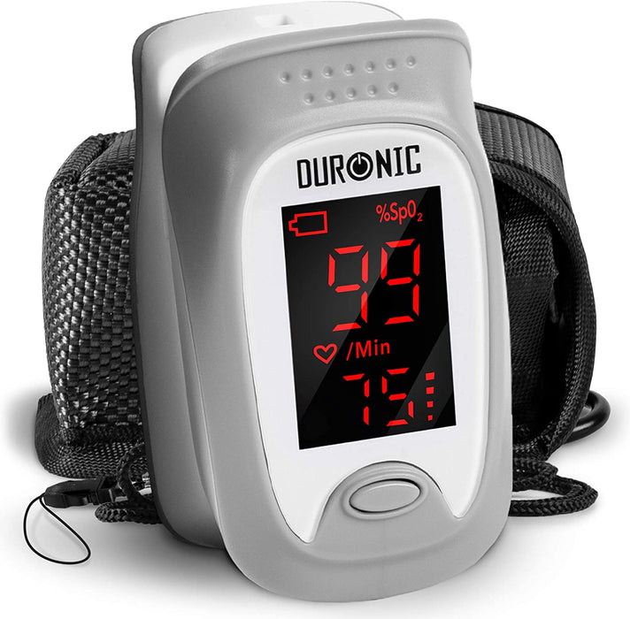 Duronic Finger Pulse Oximeter OX01R | Measures SpO2, Blood Oxygen, Pulse Rate | Digital Easy to Read Display & Accurate Readings | Comes with Lanyard and Carry Pouch