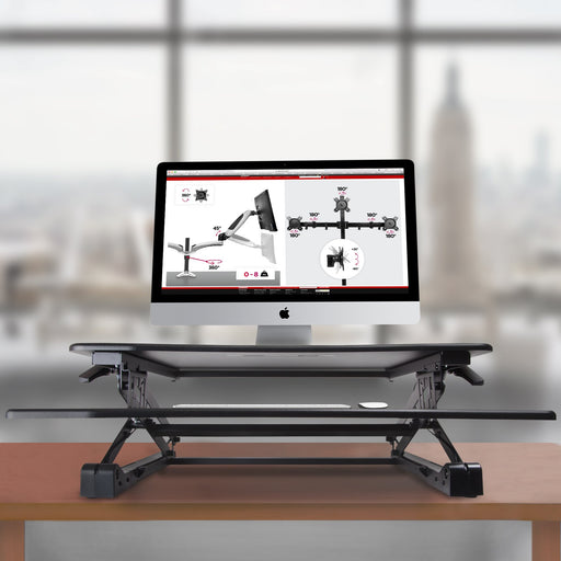 Duronic Sit-Stand Desk DM05D2 Height Adjustable PC Laptop Workstation – for PC Computer Laptop | Monitor and Keyboard Riser | Ergonomic Desktop Table Converter – Compatible with Duronic Desk Mount