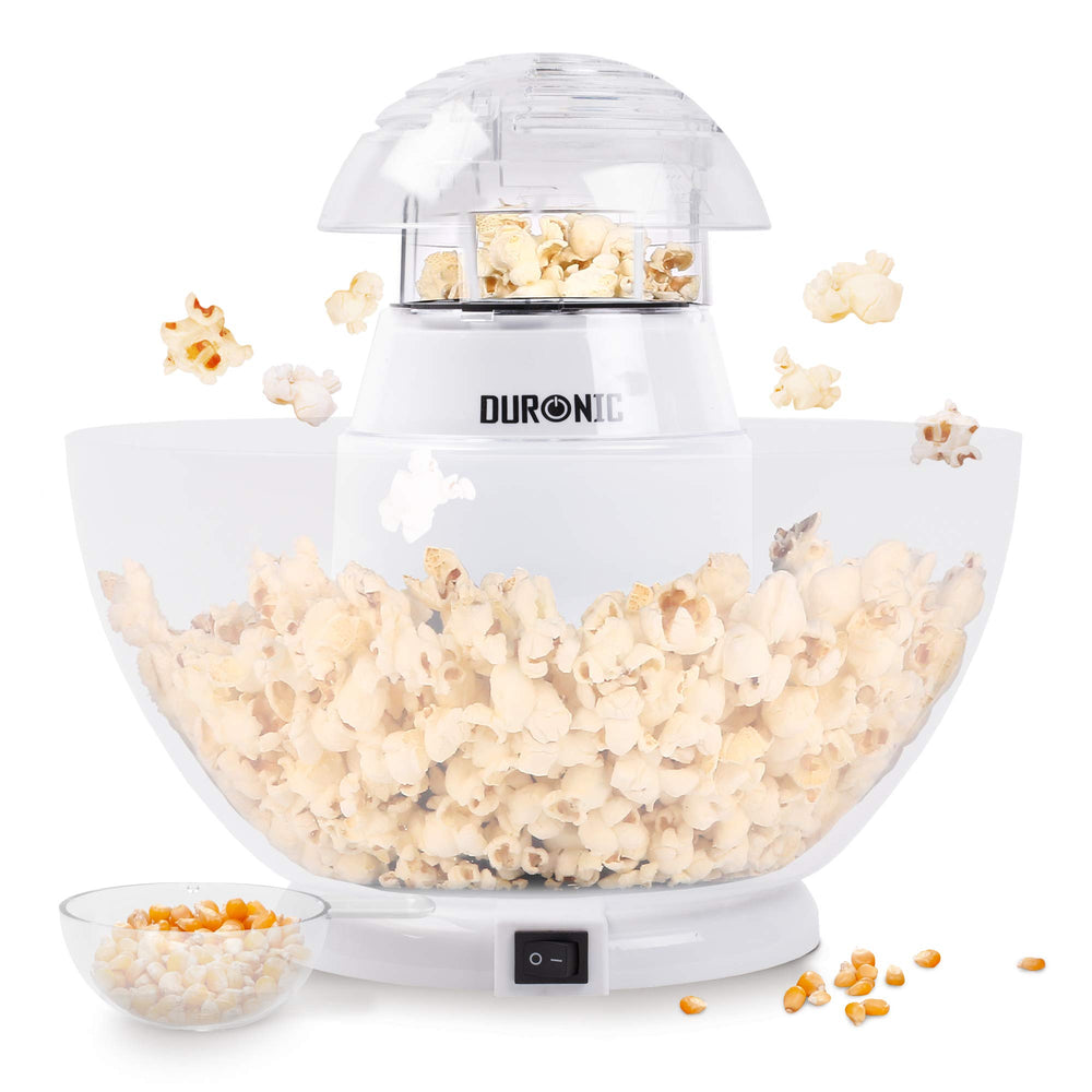 Duronic Popcorn Maker POP50 /WE | Hot Air Corn Popper | Make Homemade Healthy Oil-Free Popcorn | Low Calorie Snacking | Comes with Measuring Cup & Serving Bowl | 1200W | WHITE