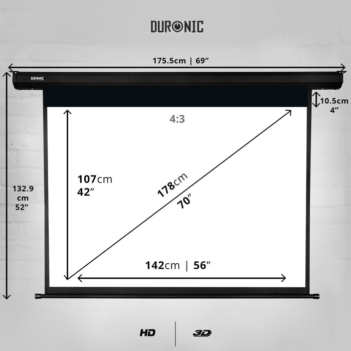 Duronic Projector Screen EPS70/43 HD Projection Screen | School | Theatre | Cinema | Home Projector Screen (Size: 142cm(w) X 107cm(h) - Motorised switch control 4K / 8K Ultra HDR 3D Ready (4:3)