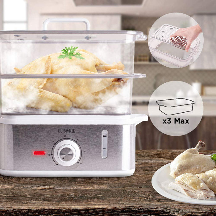 Duronic Food Steamer FS87 | 10.6 Litre | 3 Tier Cooker for Rice, Vegetables, Meat, Fish | Cook Healthy Meals for The Whole Family | 870W | 10.6L Timer Function | BPA Free | Stainless-Steel