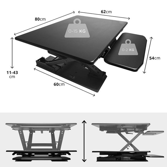Duronic Sit-Stand Desk DM05D6 | Height Adjustable Office Workstation | 80x62cm Platform | Raises from 13-45cm | Riser for PC Computer Screen, Keyboard, Laptop | Ergonomic Desktop Table Converter
