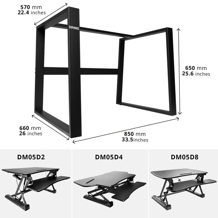 Duronic Sit-Stand Desk Frame DM05ST1.1 | Support Legs for PC Workstation | Computer Monitor and Keyboard Riser Platform | Adjustable | Compatible DM05D2, DM05D4, DM05D8 Desktop Converters