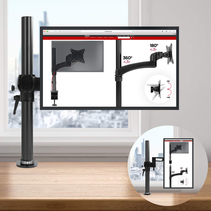 Duronic DM351X2 Single Monitor Arm Stand | PC Desk Mount | Steel | Height Adjustable | For One 13-27 Inch LED LCD Screen | VESA 75/100 | 8kg Per Screen | Tilt -15°/+15°, Swivel 180°, Rotate 360°
