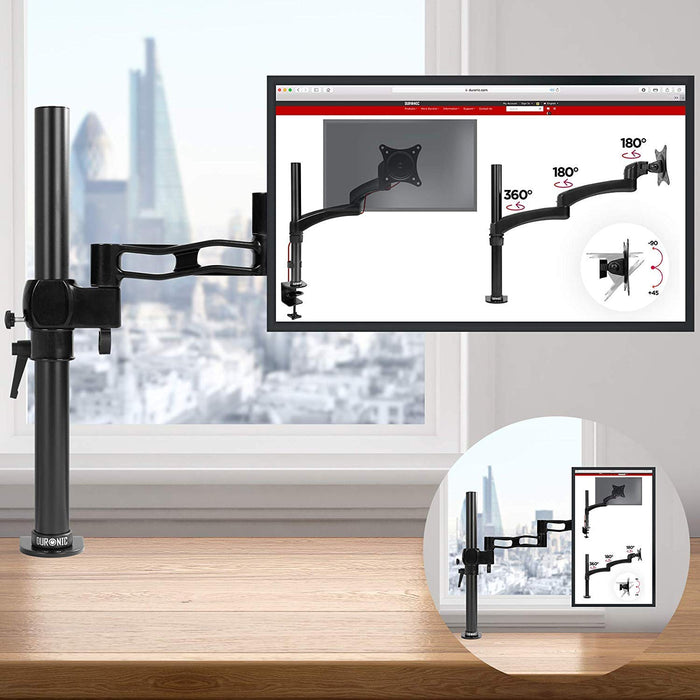 Duronic Monitor Arm Stand DM351X3 BK | Single PC Desk Mount | BLACK | Aluminium | Height Adjustable | For One 13-27 LED LCD Screen | VESA 75/100 | 8kg Capacity | Tilt +15°/-15°,Swivel 180°,Rotate 360°