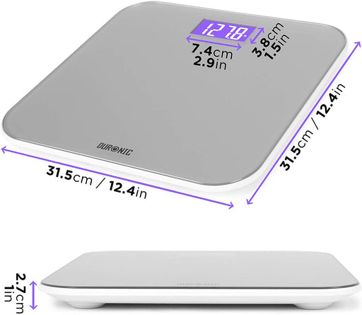 Duronic Body Scales BS603 | Measures Body Weight in Kilograms, Pounds and Stones | Silver Glass Design with Purple Backlight | Step-On Activation Bathroom Scales | Precision Sensors | 180kg Capacity