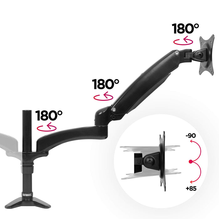 Duronic DM552 Spring Double Twin LCD LED Sprung Desk Mount Arm Monitor Stand Bracket with Tilt and Swivel (Tilt -90°/+85°Swivel 180°|Rotate 360°) + 10 Year Warranty