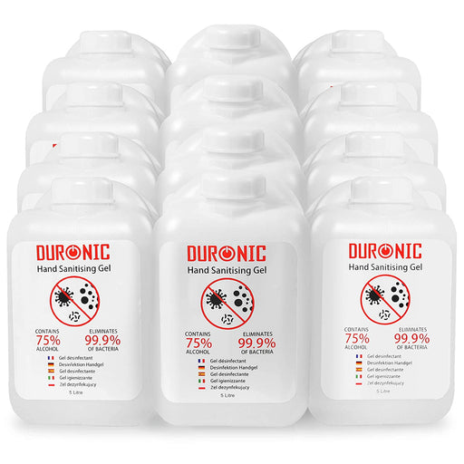 Duronic Hand Sanitiser Gel S5000ML [12 PACK] | 12x 5000ml Bottle – Large 5 Litre Refill Size | 75% Alcohol | Kills 99.9% Bacteria | Anti-Bacterial | Fast Drying | Fragrance-Free Formula