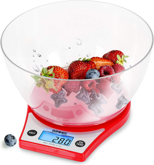 Duronic Digital Kitchen Scales KS6000 RD | Red Design with 1.5L Bowl | 5kg Capacity | LCD Backlit Display | Add & Weigh Tare | 0.1g Precision | Measure Ingredients for Cooking & Baking