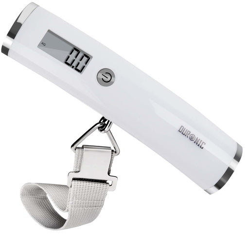 Duronic Luggage Scale LS1008 /W White Digital 50KG Capacity for | Bag | Suitcase | Travel | Digital | Scales Weights with straps and batteries for Travel | Outdoor | Home
