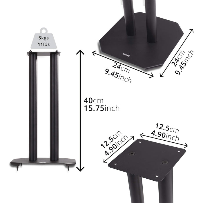 Duronic Speaker Stand (pair) SPS1022-40 | SMALL 40cm | Set of 2 Steel Base Supports for Stereo Loudspeakers | Floor/Table Standing with Spikes, Shoes and Pads | Insulating | Black | For Better Audio