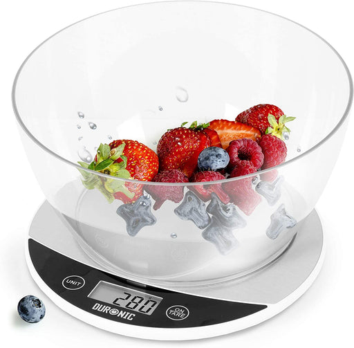 Duronic Digital Kitchen Scales KS3000 | White/Silver Design with 1.5L Bowl | 5kg Capacity | Clear LCD Display | Add & Weigh Tare | 0.1g Precision | Measure Ingredients for Cooking & Baking