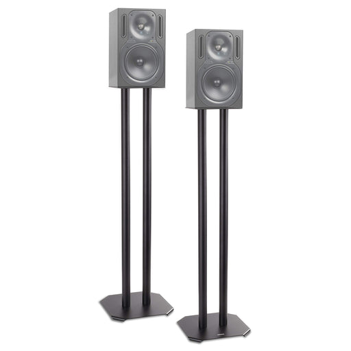 Duronic Speaker Stand (pair) SPS1022-80 | LARGE 80cm | Set of 2 Steel Base Supports for Stereo Loudspeakers | Floor Standing with Spikes, Shoes and Pads | Insulating | Black | For Better Audio