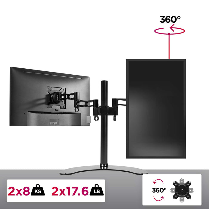 Duronic Monitor Arm Stand DM35D2 | Freestanding Double PC Desk Mount | Aluminium | For Two 13-27 LED LCD Computer or TV Screens | VESA 75/100 Brackets | Tilt +15°/-15°, Swivel 180°, Rotate 360°