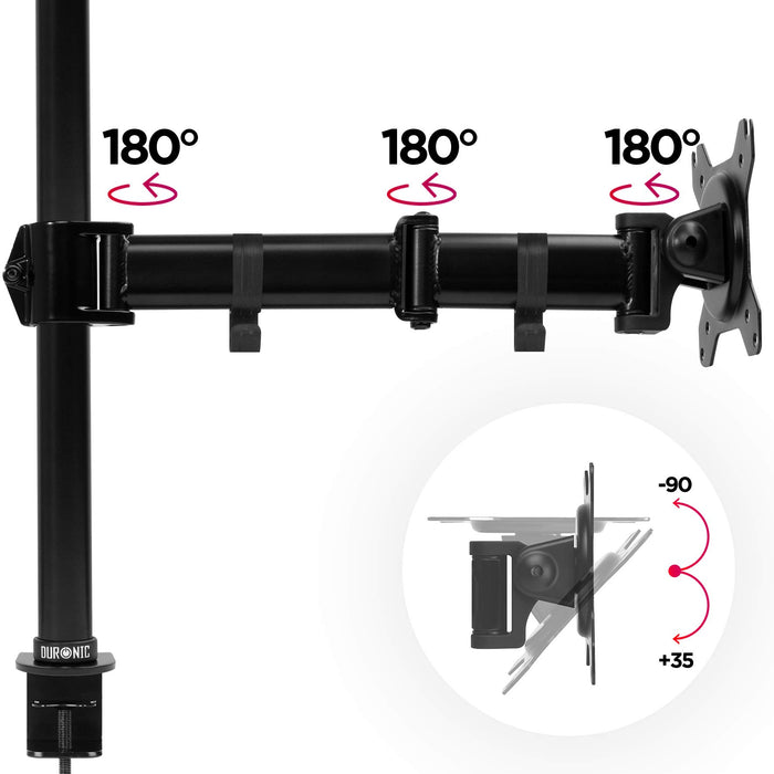 Duronic DM251X3 Single Monitor Arm Stand | PC Desk Mount | Steel | Height Adjustable | For One 13-27 Inch LED LCD Screen | VESA 75/100 | 8kg Capacity | Tilt -90°/+35°, Swivel 180°, Rotate 360°