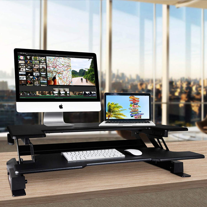 Duronic Sit-Stand Desk DM05D7 | Electric Height Adjustable Office Workstation | 92x55cm Platform | Raises from 18-41cm | Riser for PC Computer Screen, Keyboard, Laptop | Ergonomic Desktop Converter