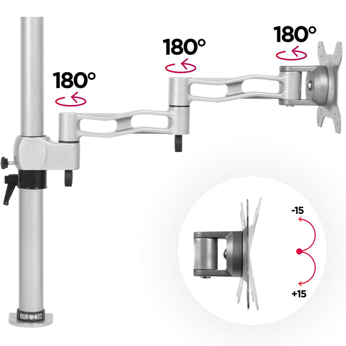 Duronic Monitor Arm Stand DM351X3 SR | Single PC Desk Mount | SILVER | Aluminium | Height Adjustable |For One 13-27 LED LCD Screen | VESA 75/100 | 8kg Capacity | Tilt +15°/-15°,Swivel 180°,Rotate 360°