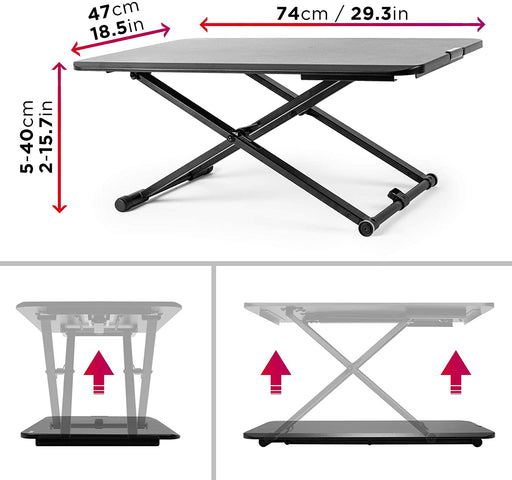 Duronic Sit-Stand Desk DM05D24 | Height Adjustable Office Workstation | 74x47cm Platform | Raises from 5-40cm | Riser for PC Computer Screen, Keyboard, Laptop | Ergonomic Desktop Table Converter…