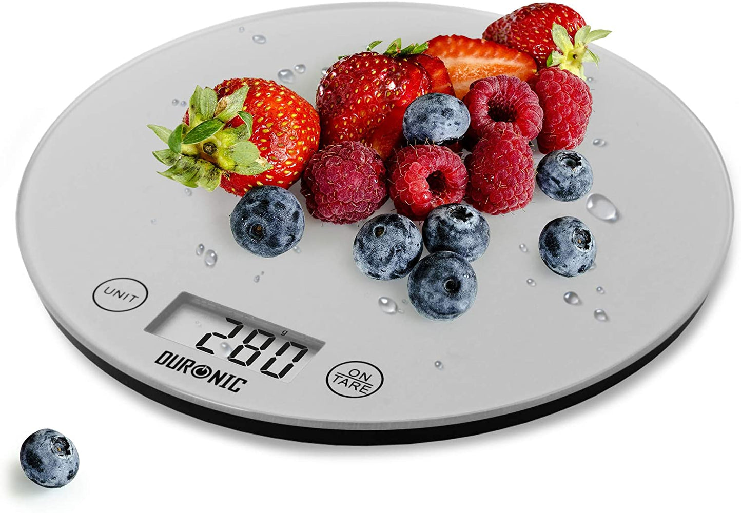 Duronic Digital Kitchen Scales KS1055 | Silver Design with Glass Platform | 5kg Capacity | Clear LCD Display | Add & Weigh Tare | 0.1g Precision | Measure Ingredients for Cooking & Baking