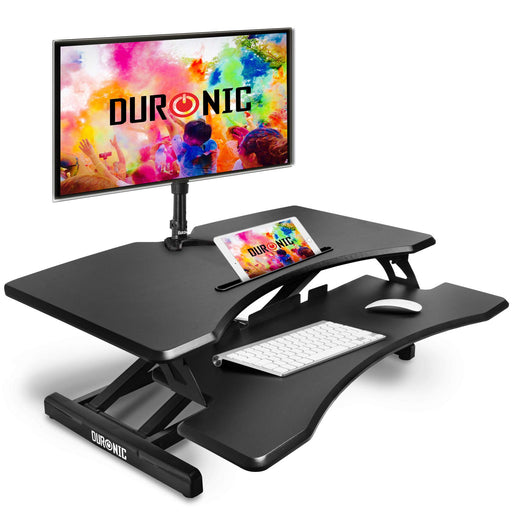 Duronic Sit-Stand Desk DM05D17 | Height Adjustable Office Workstation | 82x45cm Platform | Raises from 12-49cm | Riser for PC Computer Screen, Keyboard, Laptop | Ergonomic Desktop Table Converter