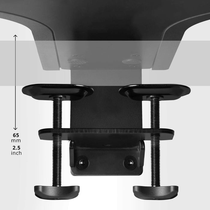 Duronic Sit-Stand Desk DM05D13 | Height Adjustable Office Workstation | 64x44cm Platform | Raises 12-40cm | Riser for PC Computer Screen, Keyboard, Laptop |Ergonomic Desktop Table Converter with Clamp