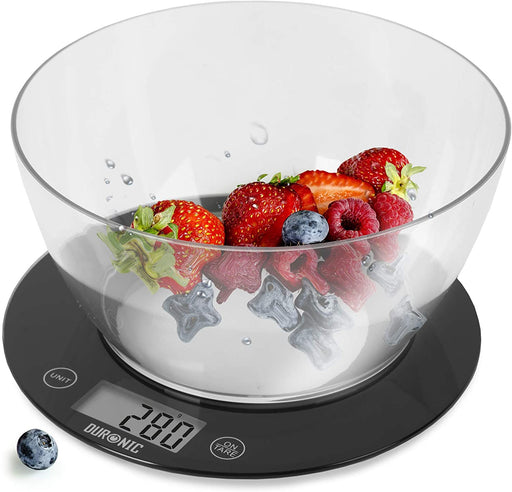 Duronic Digital Kitchen Scales KS7000 | Black/Clear Design with 1.5L Bowl | 10kg Capacity | Clear LCD Display | Add & Weigh Tare | 0.1g Precision | Measure Ingredients for Cooking & Baking