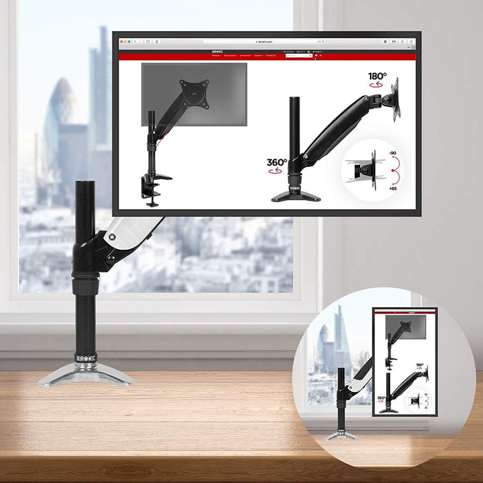 "Duronic DM651X1 Desk Mount | Single Monitor Stand for 15""-27"" LCD/LED PC/TV Screen and Laptop 